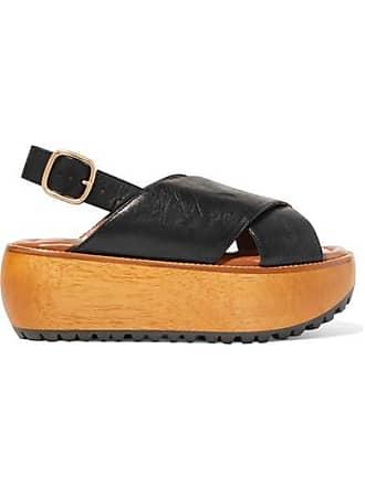 Marni Textured-leather Platform Slingback Sandals - Black