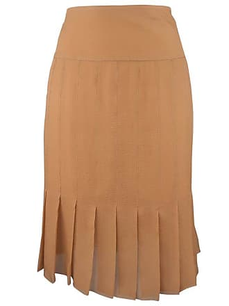 0489e3939261b Chanel Size 8 Tan Silk Chiffon Pleated Pencil Skirt