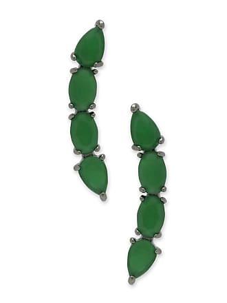 Renata Rancan Brinco Ear Cuff Pequeno com Zircônias - Verde escuro - Ródio Negro