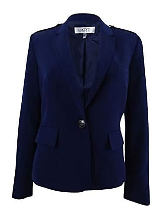 Kasper Womens Stretch Crepe 1 Button Notch Lapel Jacket, Indigo, 12