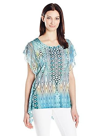 Oneworld Womens Short Sleeve Sublimation Knit Top with Lace, Liquefying Blend/Purity S