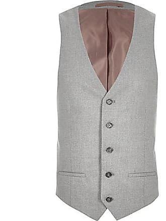 River Island Mens Big and Tall grey textured vest