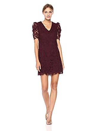 Donna Morgan Womens V-nk Lace Shift Dress, Wine Burgundy, 8