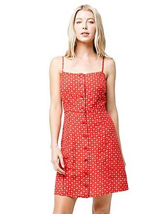 Volcom Juniors Womens Salt and Sun Printed Woven Dress, red Medium