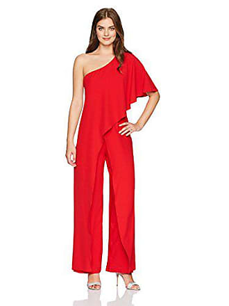 80bebf9299a4 Marina Rossini Womens One Shoulder Jumpsuit with Cascade Ruffle Detailing,  red, 12