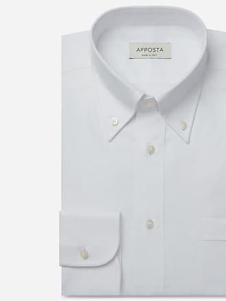 Apposta Camicia tinta unita bianco 100% puro cotone popeline viroformula, collo stile button down