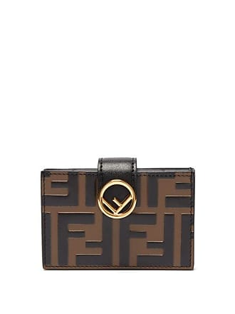 Fendi Logo Expandable Leather Cardholder - Womens - Black Brown