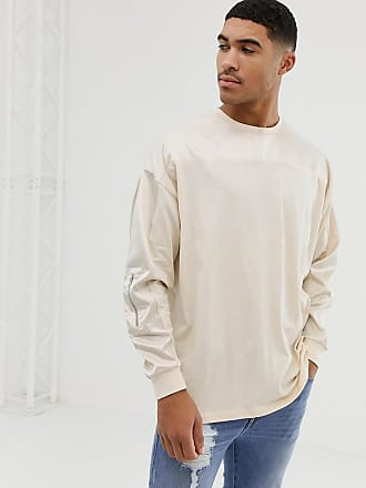 31e4c112 Asos oversized longline long sleeve t-shirt with contrast woven fabric yoke and  sleeve with
