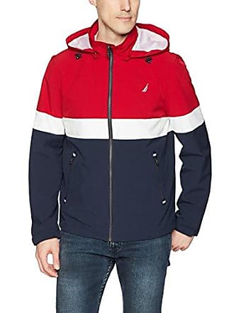 Nautica Mens Hooded Colorblock Jacket, red, XS