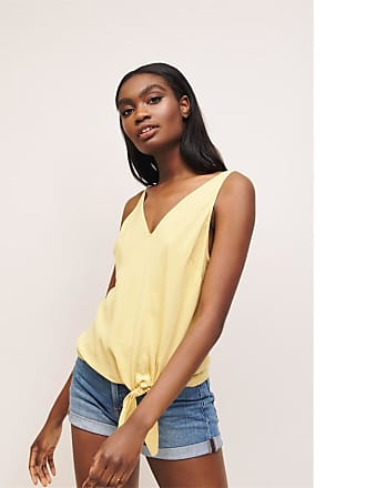 Dynamite V-Neck Tie Front Top Rattan Yellow