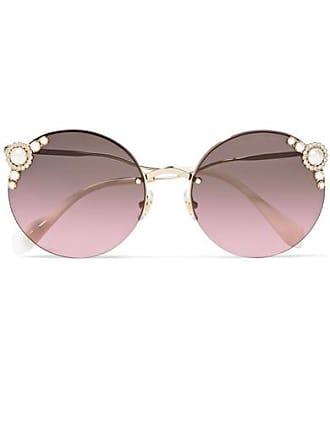 81247039353 Miu Miu Round-frame Embellished Gold-tone Sunglasses