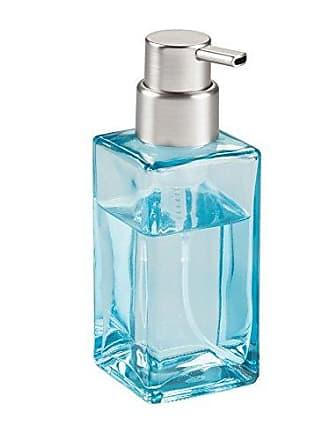 InterDesign Casilla Glass Foaming Soap Dispenser Pump for Kitchen, Bathroom Countertop and Vanities - Blue/Brushed