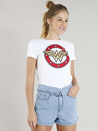 DC Comics Blusa Feminina Mulher Maravilha Manga Curta Decote Redondo Off White