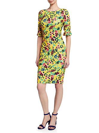 Iconic American Designer Floral Ruffle-Sleeve Sheath Dress