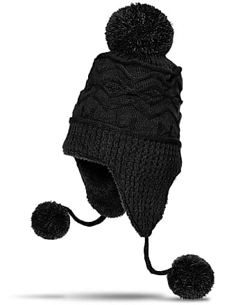 afec952632a071 CASPAR Fashion CASPAR MU052 Womens Winter Knitted Trapper Hat/Earflap Hat  with Chunky Bobbles and