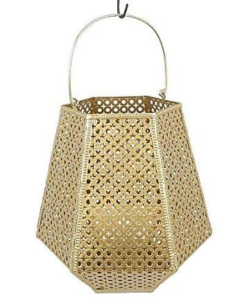 Sagebrook Home 12263-02 Metal Diamond Shaped Pierced Lantern, Gold Metal, 16.25 x 17 x 22 Inches