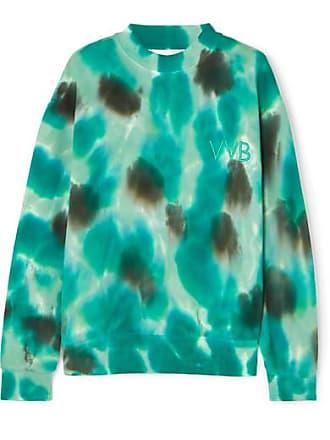 Victoria Beckham Oversized Embroidered Tie-dyed Cotton-fleece Sweatshirt - Forest green