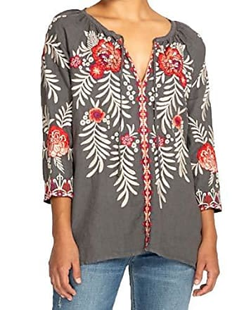 Johnny Was Womens Tiwa Peasant Blouse, Voltage, M