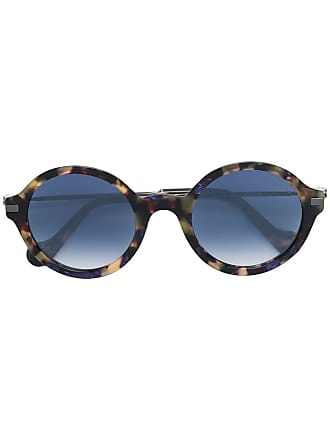 Moncler Óculos de sol com armação arredondada - Marrom