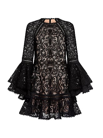 Alexis Veronique Ruffle Lace Bell Sleeve Flared Mini Dress Black