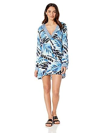 La Blanca Womens Lace Front Cover Up Tunic Dress, Blue//Two Cool, M