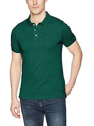 49a82d81 Tommy Hilfiger Mens Polo Shirt Slim Fit Original Flag with Short Sleeves,  Hunter Green,