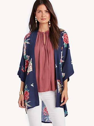 Sole Society Womens Printed Kimono Navy Multi One Size Polyester From Sole Society