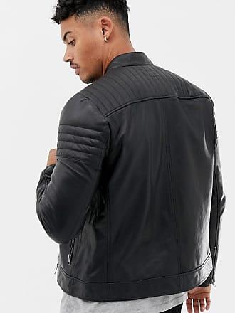 Asos Racing - Biker-Jacke aus Leder in Schwarz - Schwarz e4da8955ce