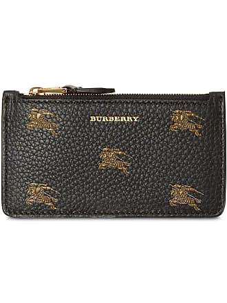 Burberry Equestrian Knight Leather Zip Card Case - Black
