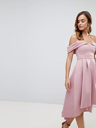 60430fe41770 Asos ASOS Bardot Cold Shoulder Dip Back Midi Prom Dress
