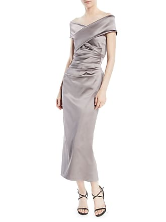 82e90b514a5 Talbot Runhof Poe Off-the-Shoulder Ruched Stretch-Satin Cocktail Dress