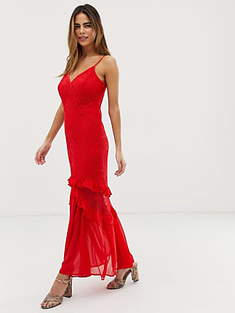 ac69f2ae278 Liquorish cami maxi dress with sheer lace overlay and ruffle detail - Red
