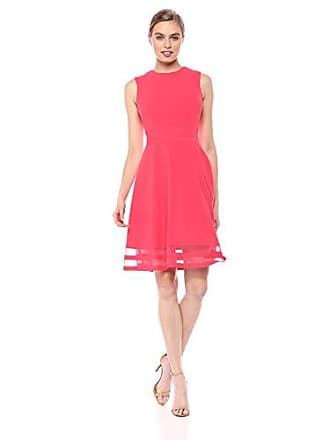 Calvin Klein Womens Sleeveless Round Neck Fit and Flare Dress with Sheer  Inserts 0a8354fb5