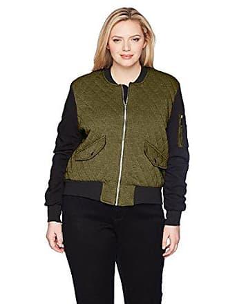 Yoki Womens Plus Size Quilted Fleece Bomber Jacket, Olive, 2X