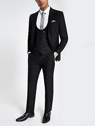 River Island Mens Black double breasted suit vest