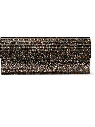 Jimmy Choo London Sweetie Glittered Acrylic And Leather Clutch - Black
