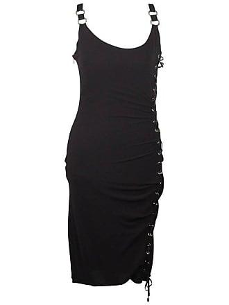 e4743e09547 Versace Silk Sleeveless Little Black Dress With Lace Up Detail Size 40