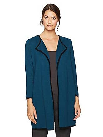 Kasper Womens Cardigan with Zippers On Shoulders, Peacock/Black, XL