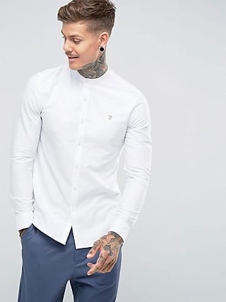 2a4206509f8 Farah Brewer slim fit grandad collar oxford shirt in white
