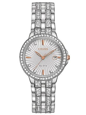 Zales Ladies Citizen Eco-Drive Silhouette Crystal Watch with Silver-Tone Dial (Model: Ew2340-58A)