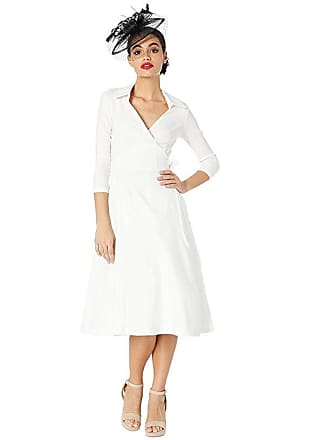 Unique Vintage 1950s Style Stretch Sleeved Anna Wrap Dress (White) Womens Dress
