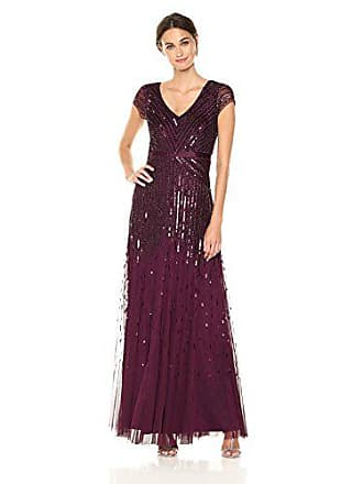 Adrianna Papell Womens Long Beaded V-Neck Dress with Cap Sleeves and Waistband, Cassis, 6