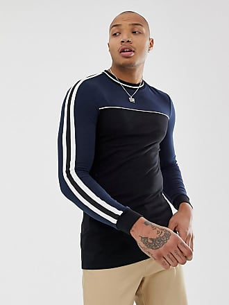 47ba2f55 Asos organic muscle longline long sleeve t-shirt with stretch and contrast  yoke with taping