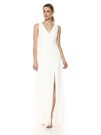 Adrianna Papell Womens V Neck Stripe Lace Gown, Ivory, 8
