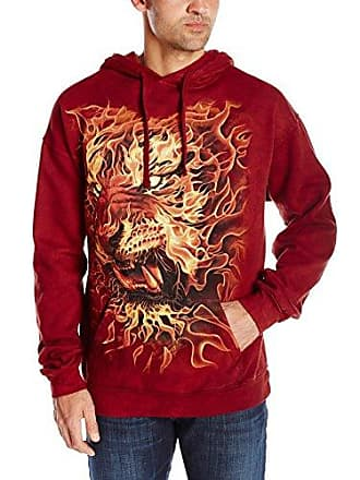 The Mountain Fire Tiger-Hsw-2Xl Adult Hoodie, Red, 2XL