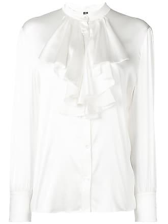 Eleventy Camisa de seda com babado - Branco