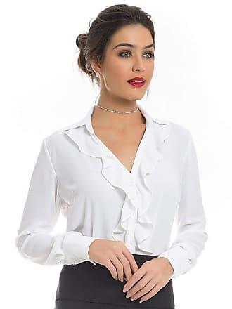Principessa Camisa Feminina Branca com Babados Principessa Helena