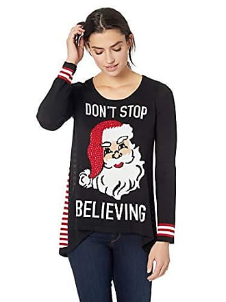 Oneworld Womens Santa Dont Stop Believing Christmas Sweater, Black, Small