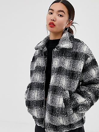 New Look brushed check teddy borg coat in black - Black