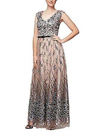 Alex Evenings Womens Sleeveless V-Neck Embroidered Gown with Satin Detail, Nude Multi, 8